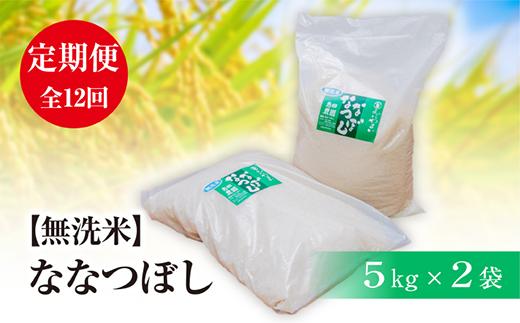 『定期便』【無洗米】北海道恵庭産 たつや自慢の米 ななつぼし5kg×2袋 全12回【35015】
