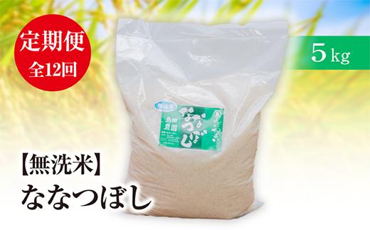 『定期便』【無洗米】北海道恵庭産 たつや自慢の米 ななつぼし5kg 全12回【35011】
