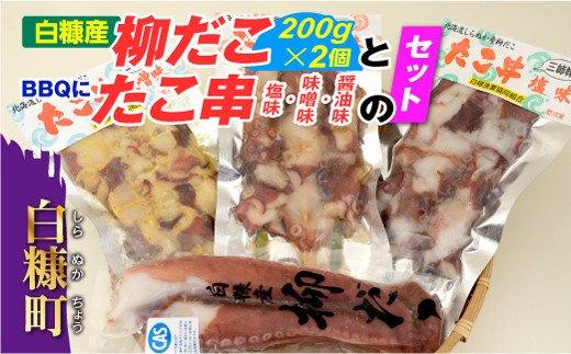 「しらぬか産柳だこ」とBBQに「たこ串(塩味・味噌味・醤油味)」のセット