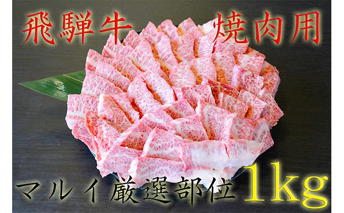 飛騨牛焼肉用(A4~A5等級)マルイ厳選部位約1kg(約500g×2)