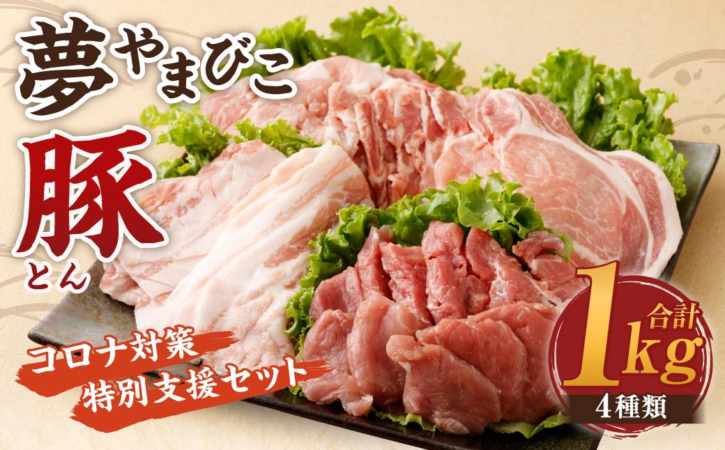 幸田町産「夢やまびこ豚」コロナ対策特別支援セット 4種類 (ロース・バラ・ヒレ・小間切れ)