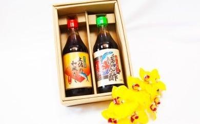 高知名産稀少果汁使用!「ぶしゅかんぽん酢」と「土佐の和風だし」2本セット SF002
