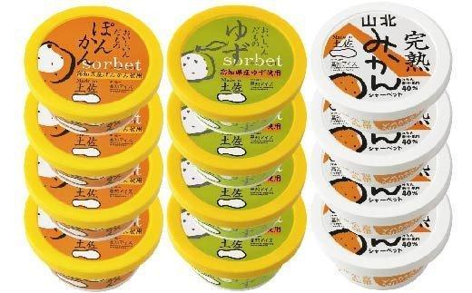 高知アイスの土佐の柑橘シャーベット3種12個セット EA040