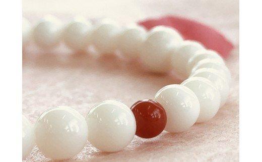 白サンゴ&赤サンゴ2個 ブレスレット・女性用 TP056