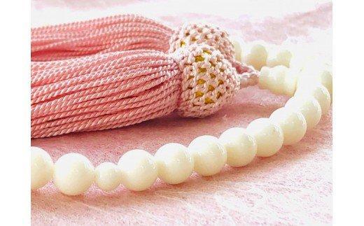 白サンゴ片手数珠 レディース 房正絹ピンク TP050