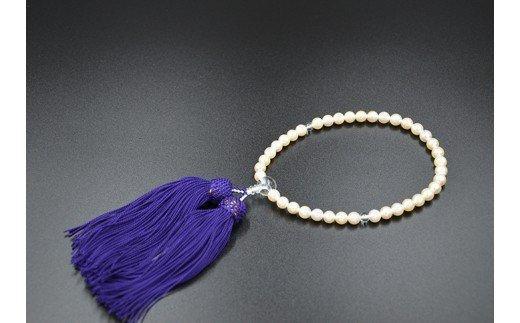パール片手数珠 レディース 房正絹紫 TP052
