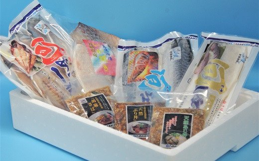 【B0-016】えんまきブランド旬さば・旬あじの干物と海鮮醤油漬けセット